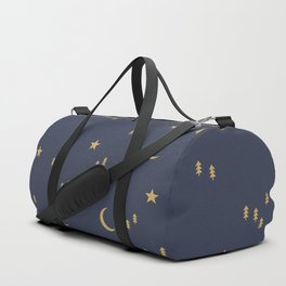 Starry night univers moon phase and christmas trees pattern sky navy blue golden Duffle Bag