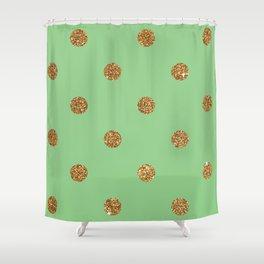 Dark Sea Green3 Gold Glitter Dot Pattern Shower Curtain