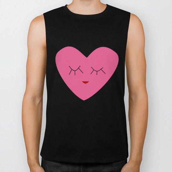 valentines heart pink Biker Tank