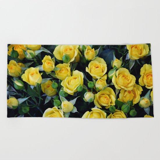 Bright Yellow Roses Beach Towel