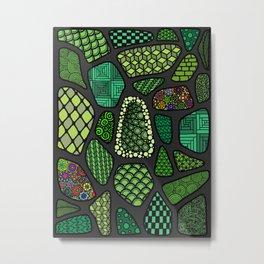 Patterned green stone floor Metal Print
