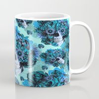 ohm Mugs featuring Full circle...Floral ohm skull pattern by Kristy Patterson Design