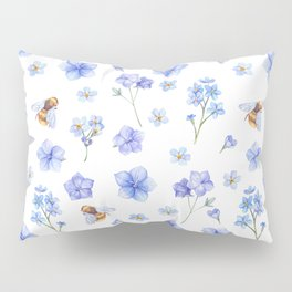 Elegant lavender brown watercolor honey bee floral Pillow Sham