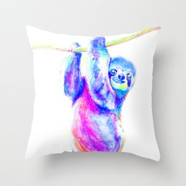 Colorful Sloth Art Throw Pillow