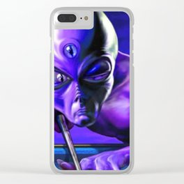 Alien UFO Billiard Planet Clear iPhone Case