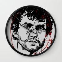 will graham Wall Clocks featuring Will Graham Clock - Hannibal by Soyarts