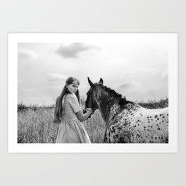 Girl with horse Art Print