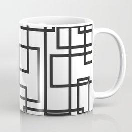 Black and White Cubical Line Art Coffee Mug