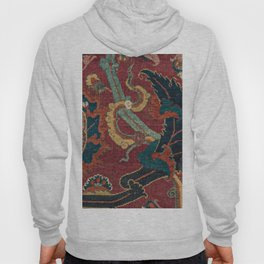 Flowery Arabic Rug III // 17th Century Colorful Plum Red Light Teal Sapphire Navy Blue Ornate Patter Hoody