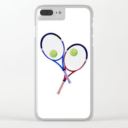 Tennis Racket And Ball Doubles Clear iPhone Case