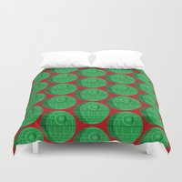 death star Duvet Covers featuring Star Wars Christmas Death Star by foreverwars