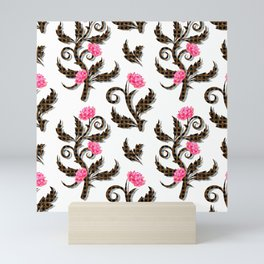 Pattern from vintage stylish flowers on a white background Mini Art Print