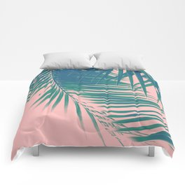 Palm Leaves Blush Summer Vibes #2 #tropical #decor #art #society6 Comforters