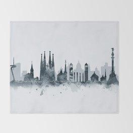 Barcelona Skyline Throw Blanket