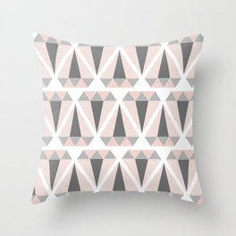 Geometric Diamond in Pink and Gray Throw Pillow