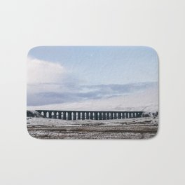 Snow and Moon over the Ribblehead Viaduct. Settle to Carlisle Railway, North Yorkshire, UK. Bath Mat