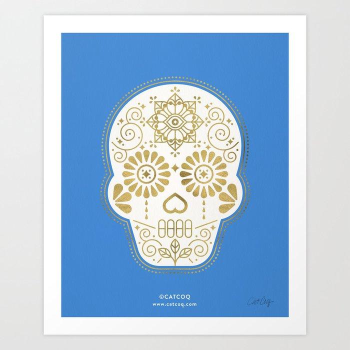 Día de Muertos • Mexican Sugar Skull – Blue & Gold Palette Art Print