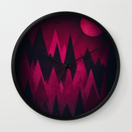 Dark Triangles (Peak Woods) Abstract Grunge Mountains Design (red/black) Wall Clock
