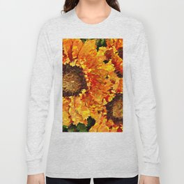 Sunflowers Abstracted Long Sleeve T-shirt