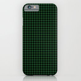 Mini Forest Green and Black Rustic Cowboy Cabin Buffalo Check iPhone Case