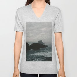 Crashing Waves on Cannon Beach Oregon Unisex V-Neck