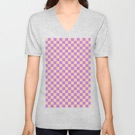 Deep Peach Orange and Lavender Violet Checkerboard Unisex V-Neck