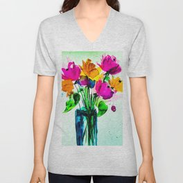 big colorful bouquet Unisex V-Neck
