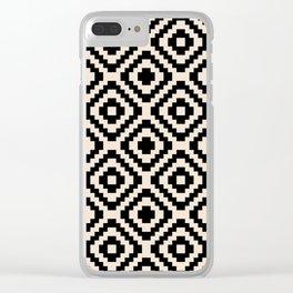 Black and Cream Square Diamonds Clear iPhone Case