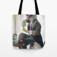 mad hatter Tote Bags featuring Mad Hatter by Oliver Dominguez