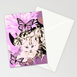 Frieda's Baby Cats in Pink Stationery Cards