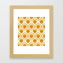 Ivory, Orange, Yellow and Brown Floral Retro Vintage Pattern Framed Art Print