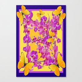 Flying Yellow Butterflies Tropical Purple Orchids Art Canvas Print