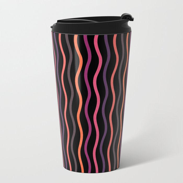Happy Lines on Black Pink Version Metal Travel Mug