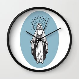 Virgin Mary Blue Wall Clock