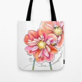 """""""bee inspired"""" watercolor flower garden art Tote Bag"""