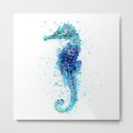 Blue Turquoise Watercolor Seahorse Metal Print