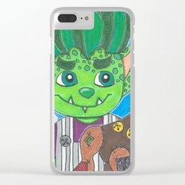 Young Goblin with stuffed dog Clear iPhone Case