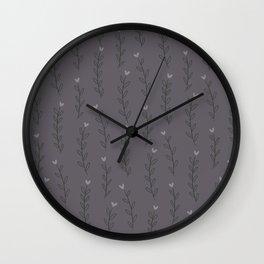 Winter Bloom Grey Wall Clock