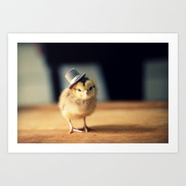 Chick Wearing A Newsboy Hat Art Print