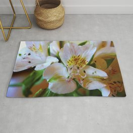 macro photography flower colored photo // Full Color Floral Rug