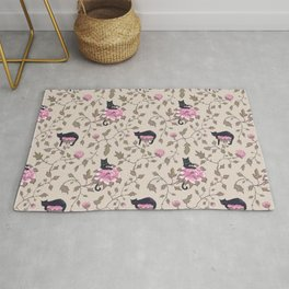 Cats and flowers on beige background Rug
