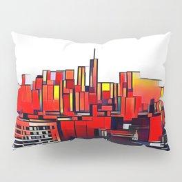 Mondrian Mosaic of Manhattan in Orange and Yellow Pillow Sham