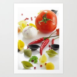 Pasta and their ingredients Art Print