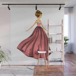 GIRL - Lady In Red - BLONDE - watercolor Wall Mural