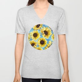 Dreamy Sunflowers on Blue Unisex V-Neck