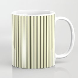 Mattress Ticking Narrow Striped Pattern in Dark Black and Cream Coffee Mug