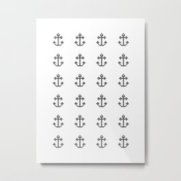 Black and White Anchor Print Metal Print