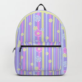 Retro Lilac striped floral pattern kids childish girlish Backpack