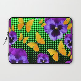 PURPLE PANSIES BUTTERFLY GREEN COLLAGE Laptop Sleeve