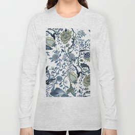 Blue vintage chinoiserie flora Long Sleeve T-shirt